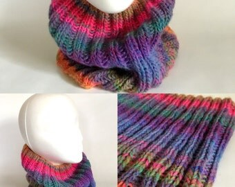 Colourful Ribbed Knit Cowl - READY TO SHIP