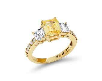 14k solid gold canary cubic zircon engagement ring, promise ring, yellow and white cz ring.