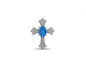 sterling silver genuine blue topaz cross pendant. religious jewelry