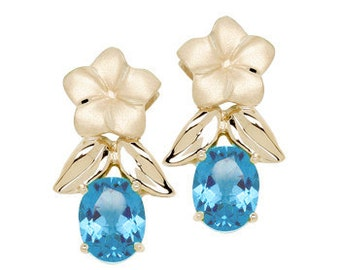 14k solid yellow gold plumeria earrings with blue topaz stones
