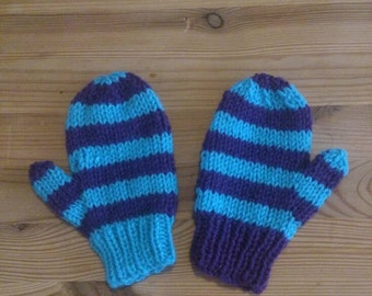 Purple and Blue Striped mittens