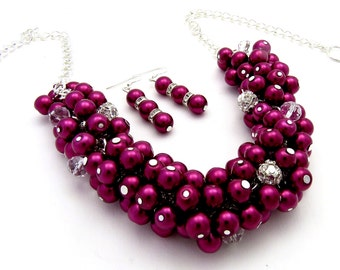 4 sets of  Bridesmaid Jewelry, Burgundy Cluster Necklace, Bridesmaid Gift, Wedding jewellery, Burgundy Pearl Necklace Sets
