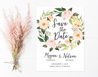 Boho Save The Date, Watercolor Save the Date, Peach Vintage Flower Wreath