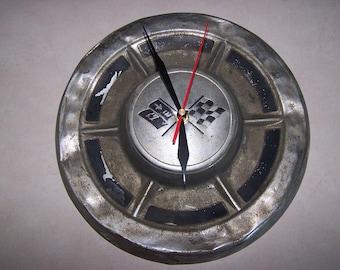 Checkered Flag Hubcap Clock - Vintage Hub Cap Clock - Man Cave - Shop Clock - Garage Gift - Hub Cap Clock - Wall Clock - Racing Clock