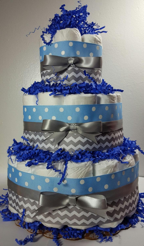 3 Tier Diaper Cake Light Blue Polka Dot Silver Chevron