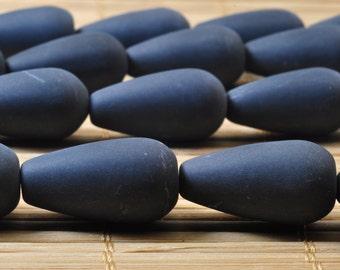 19 pcs of Black Onyx matte teardrop beads in 10x20mm
