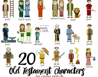 Bible Characters in Cross Stitch, 20 Old Testament Character Cross Stitch Patterns, Instant Download