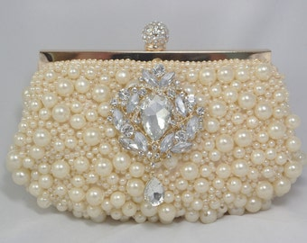 Gold Pearl Bridal Clutch, Crystal and Pearl Gold Wedding Handbag, Crystal Clutch, Shell Bridal Clutch, Gold Evening  Beach Bridal Clutch