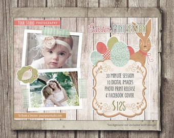 Easter Photography Template - Mini Session - Spring Easter Photography Marketing - Photo Session - Marketing Board - INSTANT DOWNLOAD PSD