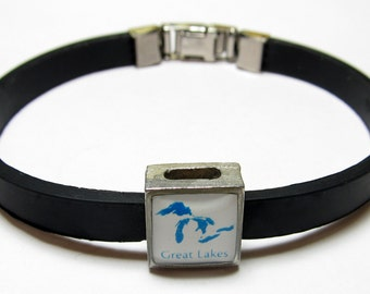 Great Lakes Michigan Link With Choice Of Colored Band Charm Bracelet