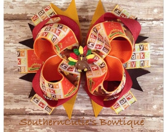 Thanksgiving Stacked Boutique Hairbow