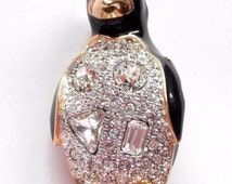 Signed Swarovski Pin Brooch Gold Plated Penguin set with Clear Crystals