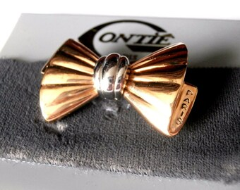 Signed Gontie Paris Signature Bow Pin Brooch 1221 Gold Plated New (D)