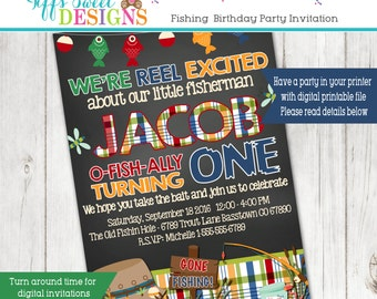 Fishing Birthday Party  Invitation - Fish Invitation - Fishing Party - Gone Fishing Birthday