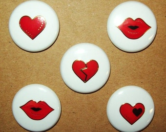 """Red Hearts and Lips with Gold Trim, 1"""" Button Magnets, Set of 5 Refrigerator Magnets"""