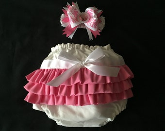Pink Baby Ruffle Diaper Cover with Matching Bow & Headband