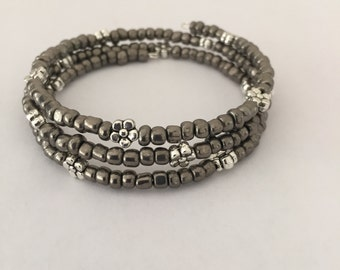 Hematite and Silver Memory Wire Bracelet