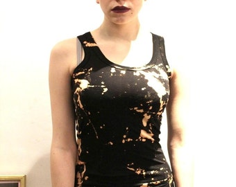 Hand Dyed Black Bleached Tie Dye Punk Grunge Vest Top