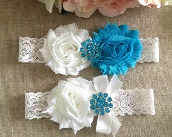 Wedding Garter - Bridal Garter - Turquoise Blue and Ivory Shabby Flower Garter and Toss Garter Set