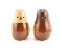 Wood Bird Salt and Pepper Shaker Set - Walnut, Maple and Lacewood Bodies - Birdseye Maple Wings - African Blackwood Beaks - Junction Trade