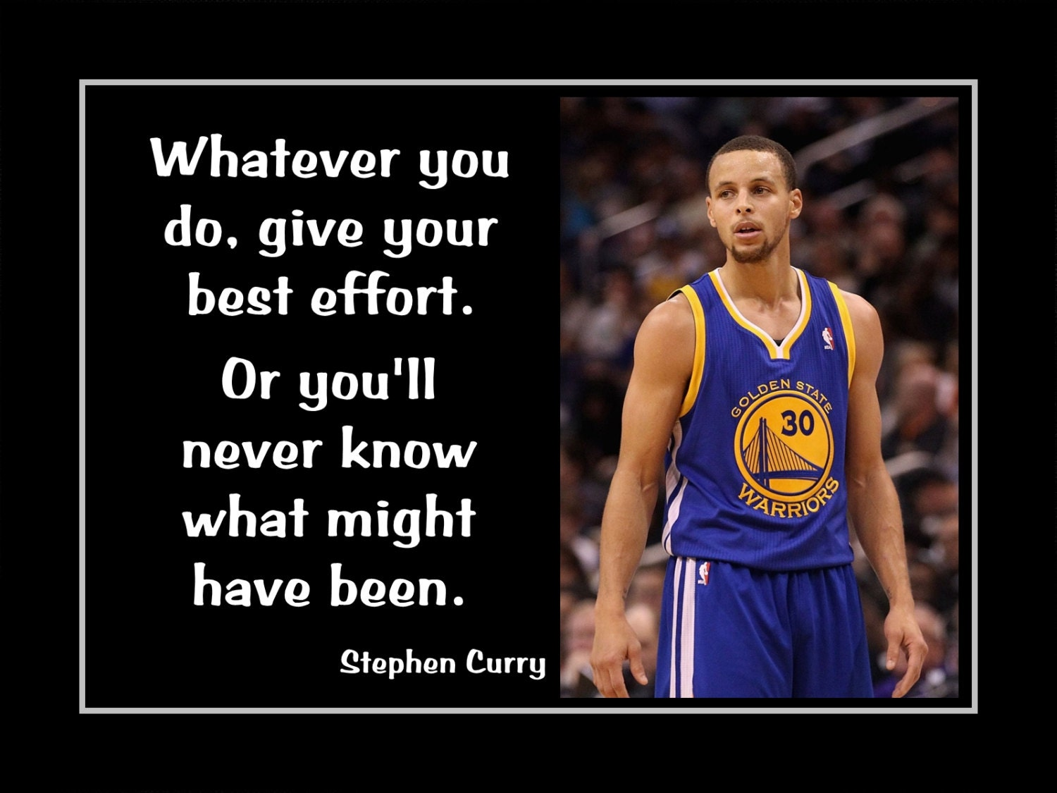 Basketball Wall Art Stephen Curry Motivation Quote by ArleyArt