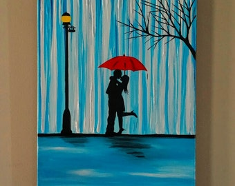 Couple in rain painting,Couple kissing in the rain wall art,couple with red umbrella painting,couple silhouette,Kiss art,Birthday gift