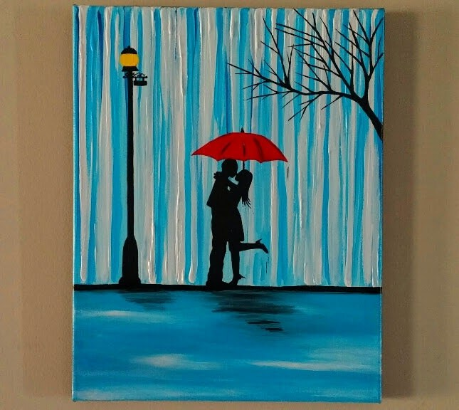Couple In Rain PaintingCouple Kissing In The Rain Wall