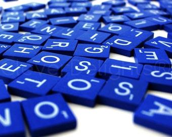 100 Scrabble Tiles - Blue Color - 1 Complete 100 Piece Set - Wood Pieces - Scrabble Letter Pieces - Game Craft Wedding Scrapbooking