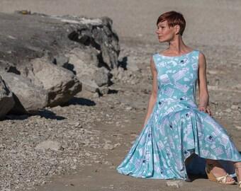 Blue Dress, 60s style dress, Summerdress, Boho dress, Sundress, Jersey dress, Midi Dress, 60s style dress, beach dress, summer dresses,