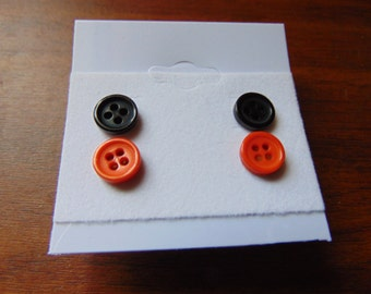 Orange and black button earrings  2 pair set
