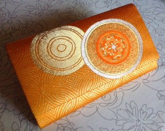 SALE 20% OFF - Vintage Japanese Kimono Obi Clutch Purse Bag - Orange Gold Silver Silk Clutch