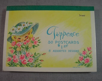 Tuppence Vintage Postcards Booklet of 50 cards 5 Designs