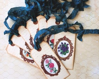 Set of 8 Gift Tags, Wish Tags, Wedding Wish Tags, Victorian Tags, Victorian, Hang Tags, Cameo, Vintage Cameo, Tea Party Tag, German Scraps