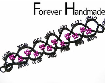 Black and Purple Tatting Lace Bracelet