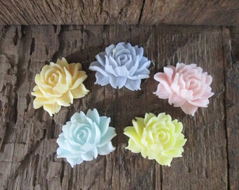 10 Small Open Rose Shea Butter Soap Favors Wedding, Bridal, Baby Shower