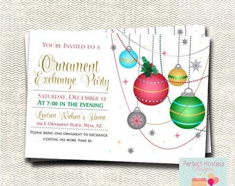 Christmas Party Invitation / Ornament Exchange Party / Holiday Invitation