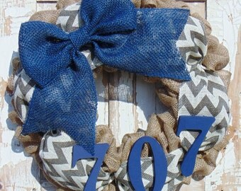 House Numbers Burlap Wreath