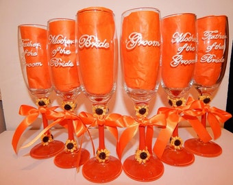 PERSONALISED TOP TABLE wedding flutes. Made to order. Any design.