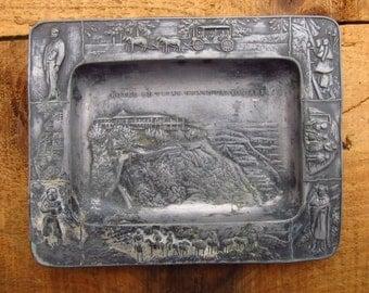 Vintage Metal Grand Canyon Souvenir Trinket Dish - Arizona Trinket Dish - Hotel El Tovar Grand Canyon Arizona