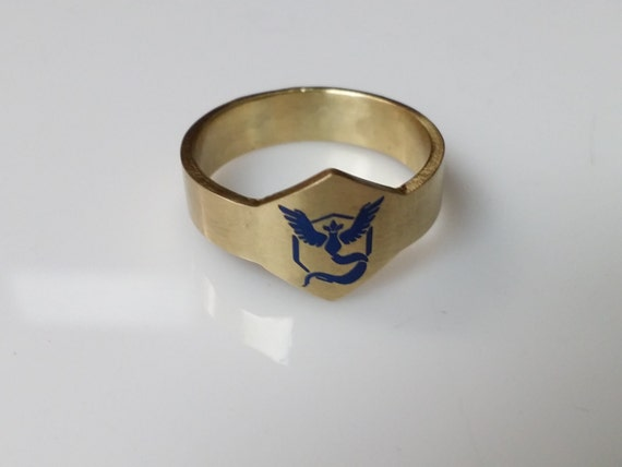 Pokemon Go Team Rings. Team Mystic. Team Blue. Unisex Ring.