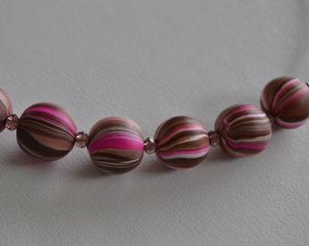 Choker beads pink/Brown