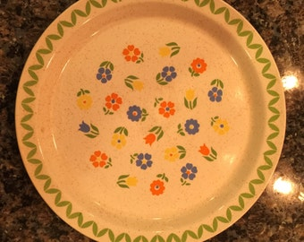 Vintage Erin Stone Brendan Plate from Arklow Ireland with a Floral Design