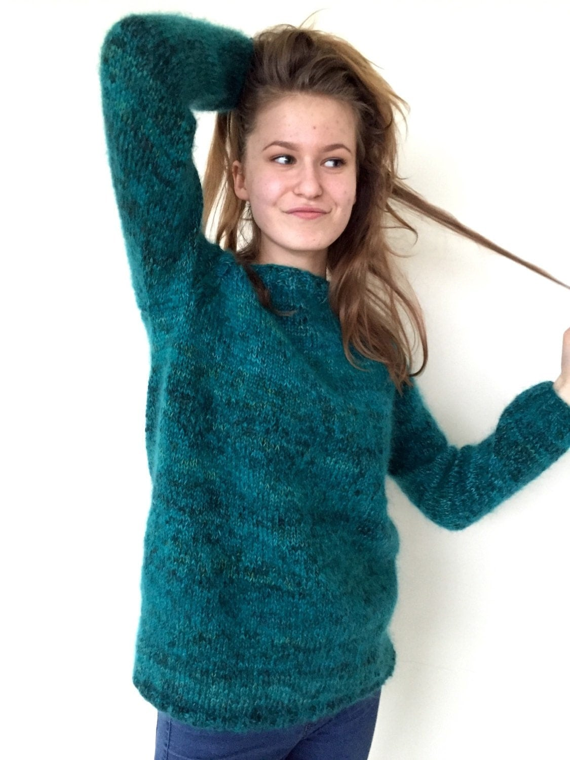 Great Sweater Cute Guy Too: Mohair Sweater Emerald Green Sweater Women's Sweater Comfy
