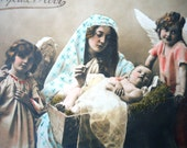 Antique Christmas postcard - Nativity Jesus mother Mary, crib baby hay, birth Bethlehem angel girls, french hand tinted, 1900