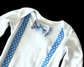 Body,baby bodysuits,set,bow,suspenders,light blue