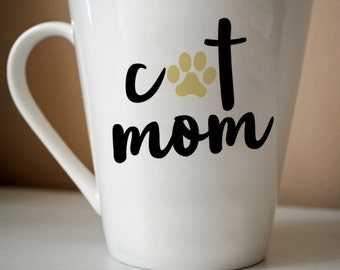 Cat Mom Decal | Cat, Cat Mom, Cat Lover, Cat Gift, Coffee, Coffee Gift