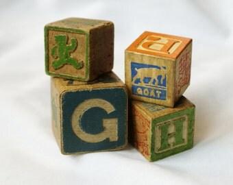 Four Vintage Childrens  Blocks