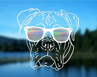 "Boxer Decal, Dog, Vinyl Decal, Car Decal, Bumper Sticker, 5"" decal"