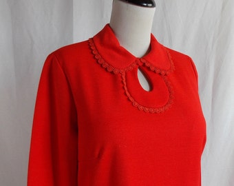 Toni Todd Bright Red Wool Blend Dress with Keyhole Neckline