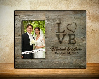 Personalized Wedding Frame - Rustic Wood look - wedding gift